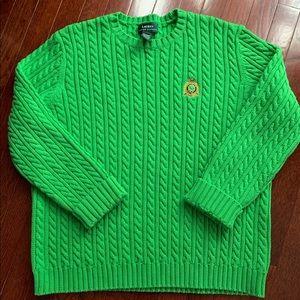 XL Bright Green Ralph Lauren Cable Knit Sweater